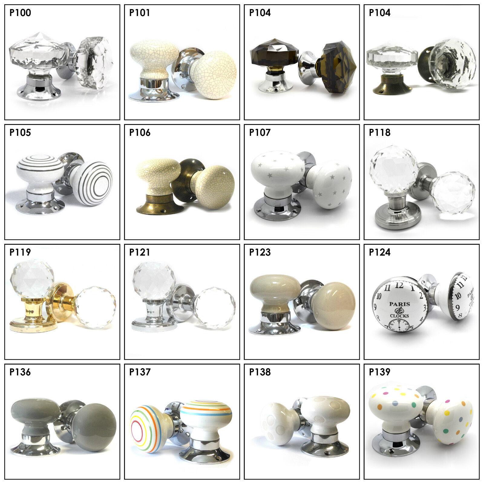 Huge Selection of Ceramic Glass Crystal Internal Turning Mortice Door Knobs Set