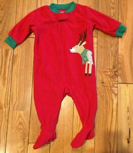 610cb363f610 NWT Boys CARTERS Red Soft Fleece Reindeer Christmas Footed Pajamas ...