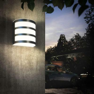 Set of 2 Modern Outdoor Wall Light Polished Stainless Steel Garden Porch IP44 Ra