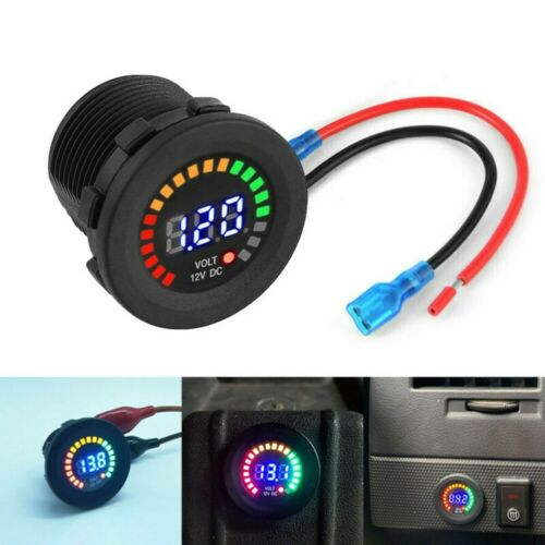 Schwarz Voltmeter RGB LED IP65 Boot Panel Digital Spannung Display Neu