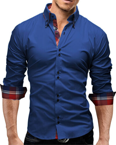 Mens Long Sleeves Shirts Business Work Dress Button Down Slim Multicolor ST6453