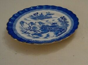 Image Is Loading Antique Vintage Spode Blue And White Willow Pattern