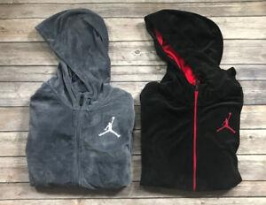 Nike Jordan Hoodie Boys Velour Style Hooded Sweatshirt Black Red Gray Sm, Lg, L