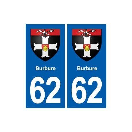 62 Burbure blason autocollant plaque stickers ville arrondis