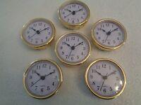6 Pak, 2-1/2(65mm) Quartz Clock Fit-up/insert, Gold Trim, Arabic Numeral,white