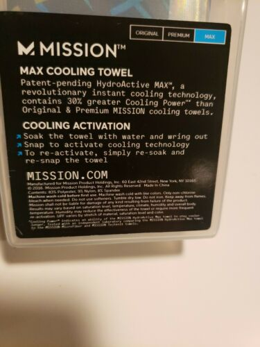 """Mission HydroActive Max refroidissement serviette Théorie des cordes bleu cobalt 11/"""" X 33/"""""""
