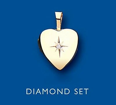 Diamond Heart Locket Yellow Gold Solid Hallmarked 12mm
