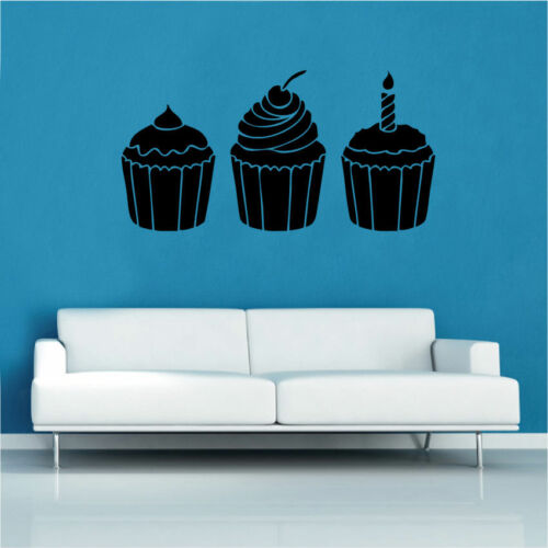 Cupcake Trio Decal Vinyl Wall Sticker Art Kitchen Sayings Quotes