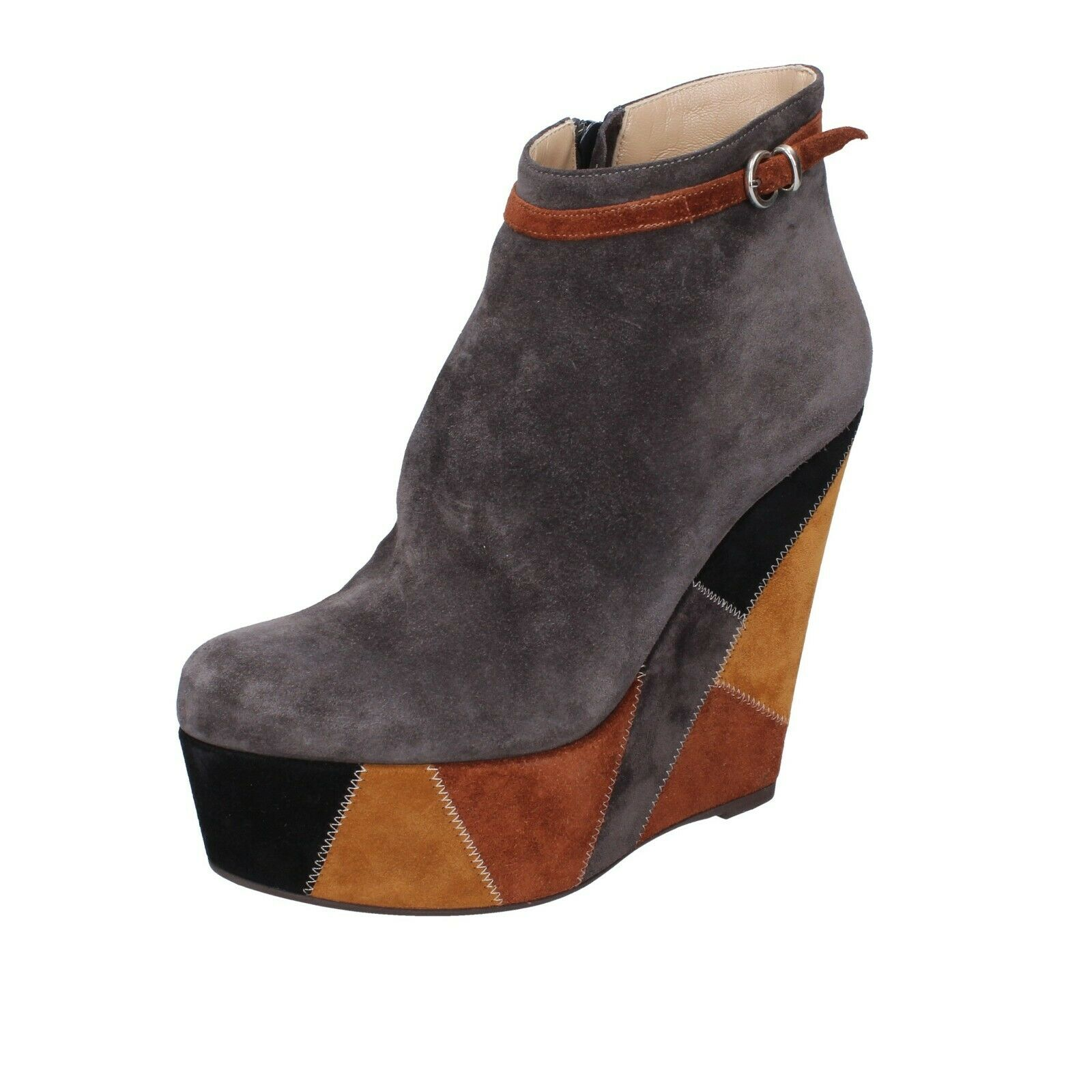 Womens shoes Gianni Marra 39 EU ankle boots wedge grey suede AK821-39