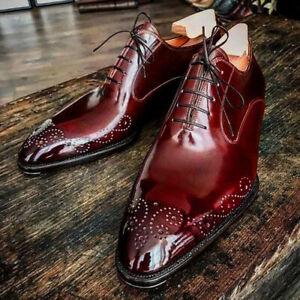 Handmade-Hommes-American-Luxury-Chaussures-Toe-meroon-Chaussures-en-cuir-chaussures-en-cuir