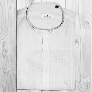 Camicia Uomo Casual Basic Lino Collo Alla Coreana Manica Lunga Slim Fit Bianco