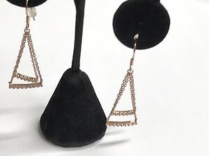 925-Sterling-Silver-Gold-Tone-Chain-Drop-Dangling-Earrings-With-CZ-Stones