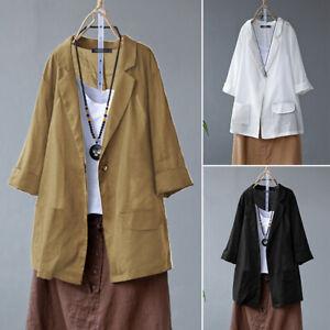 Coton-Femme-Manteau-Cardigans-Manche-Longue-Boutons-Casuel-en-vrac-Verst-Plus