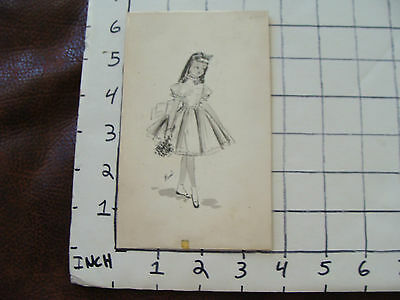 Vintage 1950's advertising art: girl in dress with flowers signed RANI
