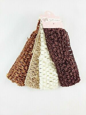 BROWN 4PC CROCHET KYLIEBAND BANDEAUX HAIRBAND 4.5CM SCHOOL CHILDREN BABY VA153-3