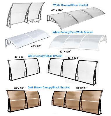 "40×120/"" door Window Awning Patio Cover Canopy UV Rain Snow Protection black"