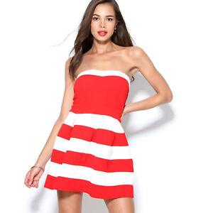 Vestido corto evasé con escote palabra de honor mujer - 014238