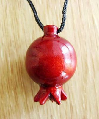 Armenian Wood Hand Made Carved Pomegranate Necklace Pendant Souvenir Gift