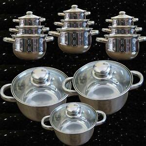 10 pcs luxe batterie de cuisine casseroles po les 18 10 - Batterie de cuisine induction inox ...