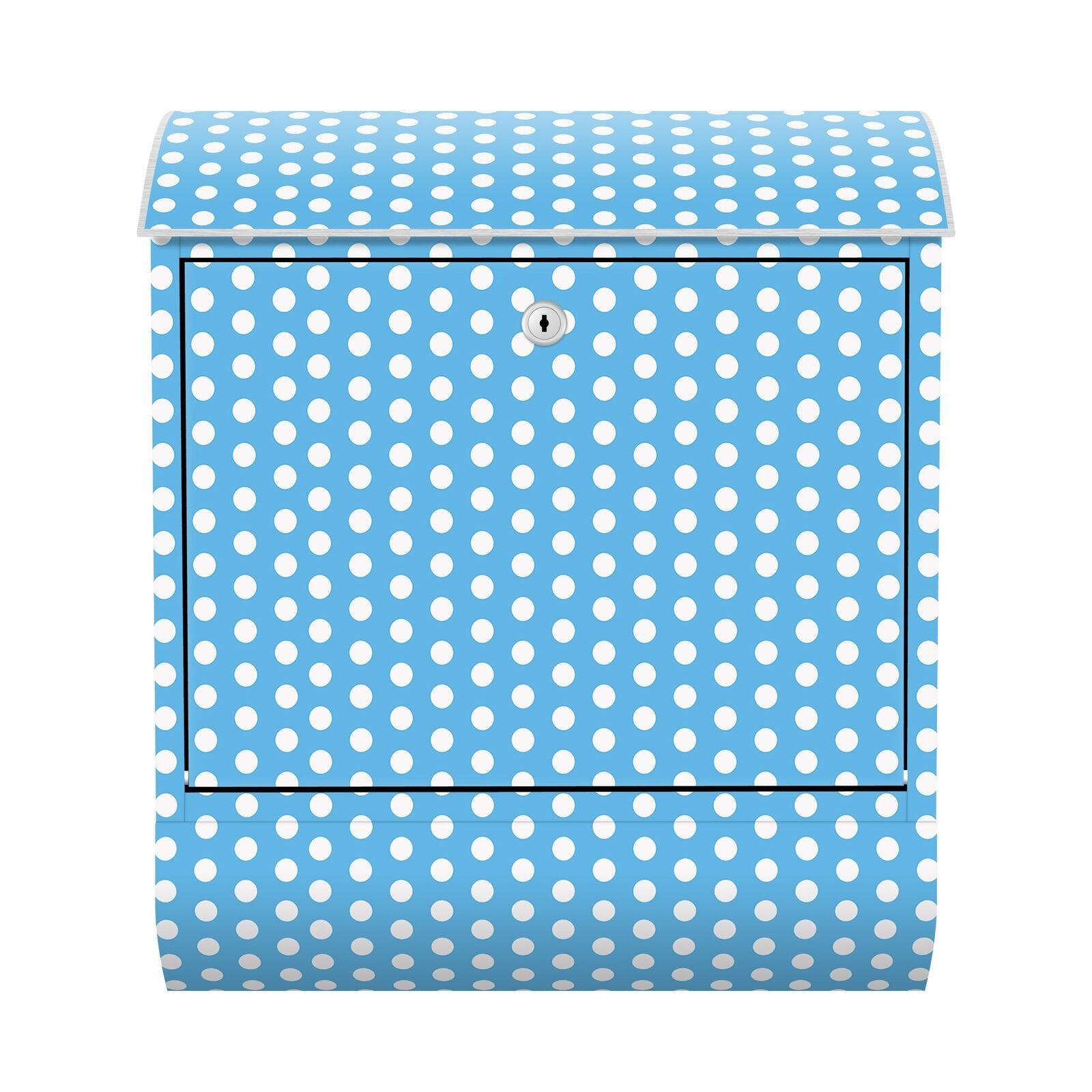 Briefkasten Zeitungsfach Letter Box Himmelblau mit weißen Punkten Asbtrakt Farbe