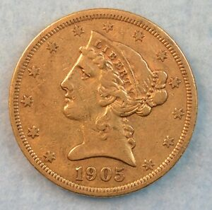 1905-S San Francisco Mint Low Mintage $5 Liberty Gold Coin Variety 2 Half Eagle