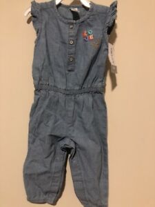 JACADI Girl/'s Trace2 Chambray Woven Overall Jumpsuit Size 23 Months NWT $49