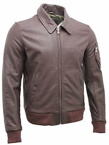 uomo Airforce bovina pelle antracite pelle in analine Us vintage in color Bomber z76PxTXq