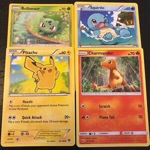 Pokemon-Pikachu-Bulbasaur-Charmander-Squirtle-4-Juego-de-Tarjetas-oficial-casi-como-nuevo