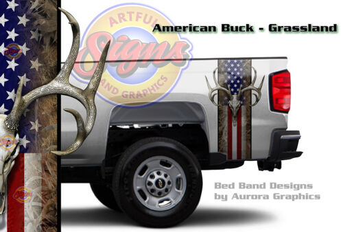 Grassland Camo Truck Bed Band Decal Sticker Wrap American Buck Hunting 19 x 35