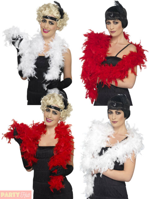 Feather Boa Red White 20s Flapper Fancy Dress Costume Accessory Hen Party 1.5m