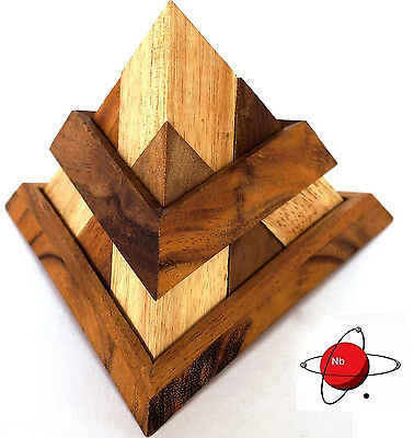 TRI PYRAMID - Wood Puzzle Brain Teaser Mind Bender Rompecabeza Noggin Buster