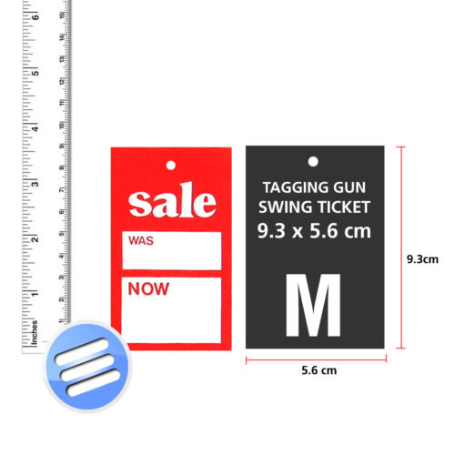 M 500 /'SALE WAS NOW/' TAGGING COAT HANGER SWING TICKETS Size : 9.3 x 5.6 cm