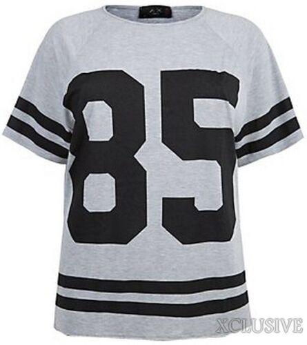 Damen Übergröße 85 Basis Ball Schlabber Schwarz /& Grau T-Shirt Oberteile 16-26