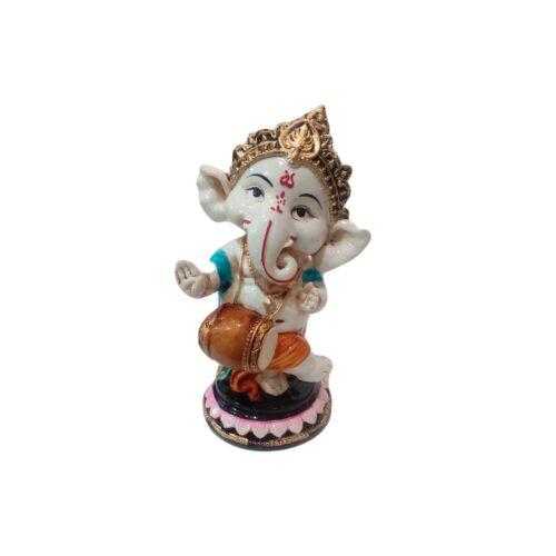 White Marble Art Lord Ganesha Showpiece Handmade 3X4.5 Inch Home Decor