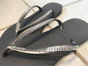 Image is loading Havaiana-Slim-Flip-Flop-Sandals-Swarovski-Crystal -Customised- 3993d0e4e1