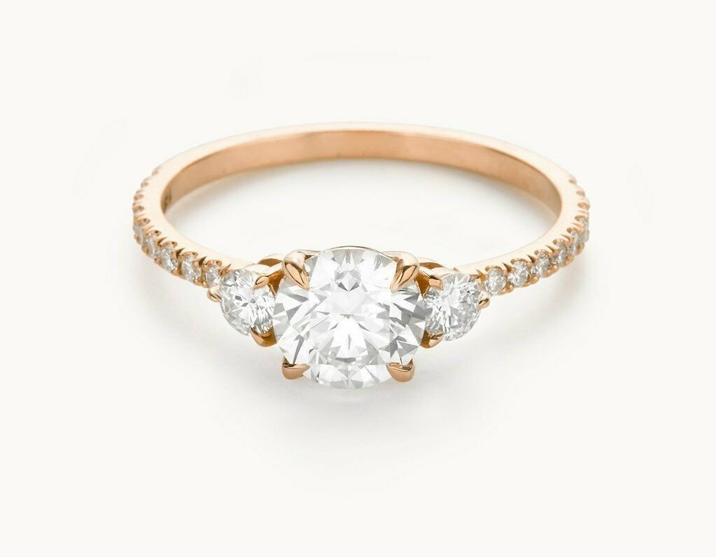1.90 Ct Round Diamond Engagement Ring 14K Solid pink gold Rings Size 5 6 +09