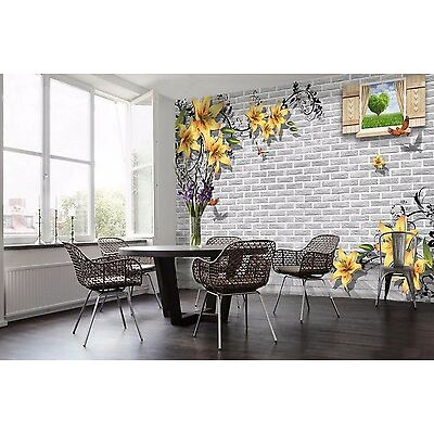3D Wall flower yellow 435 Wall Paper Wall Print Decal Wall Indoor Murals Wall US