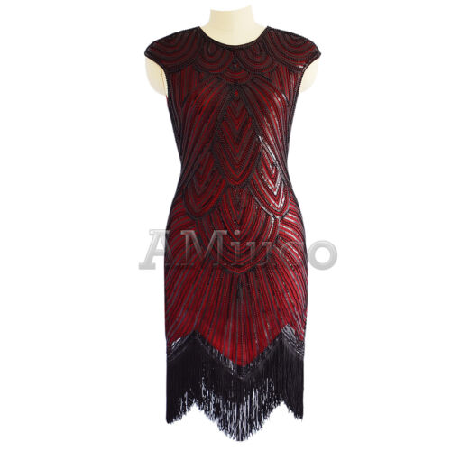 Details about  /1920s Flapper Gatsby Sequins Cocktail Evening Dress Tassels Fringe Party Dresses