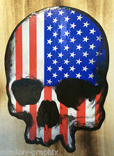 US Flagge Skull Schädel Totenkopf Oldschool Aufkleber Chevy Dodge Sticker USA
