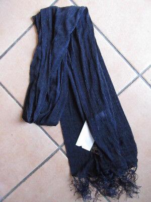 """#3) Nr-01) """"sciarpa Da Donna/da Donna Sciarpa/foulard Hauchig"""" Blu + Frange, Circa 160m Lungo-mostra Il Titolo Originale"""