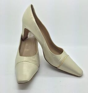 1dd748ef99da9 Details about AMALFI for Nordstrom Cream Pearl Gold Leather Classic Heels  Pumps 8M Italy NICE