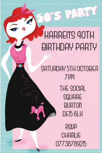Personalised 50s Style Theme Girl//Woman Birthday Party Invites inc envelopes