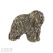 Polish Lowland Sheepdog 2nd kind, silver covered pin, high quality Art Dog Usa