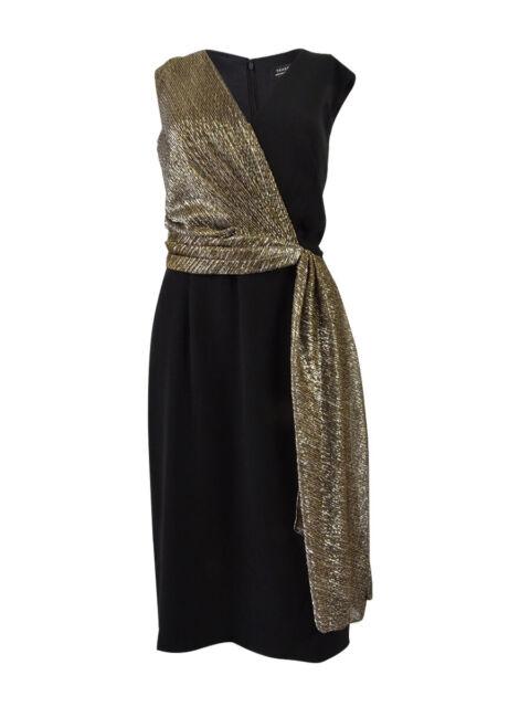 Tahari ASL Women's Metallic-Contrast Sheath Dress (8, Black/Gold)