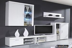 Mueble comedor salon moderno, vitrina con Leds, Blanco Brillo y ...