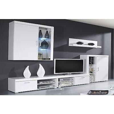 Mueble comedor salon moderno, vitrina con Leds, Blanco Brillo y Blanco Mate