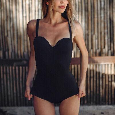 Sexy Women Pure Color Push-Up Padded Bra Beach Casual Bikini One Piece Swimwear