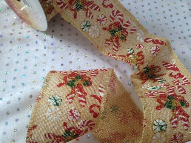 Eleganza CANDY CANES - Wire edge Hessian Ribbon Christmas 63mm