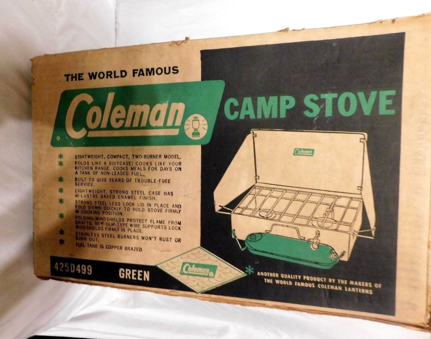 Vintage Coleman Camp Stove 425D499 Green With Box