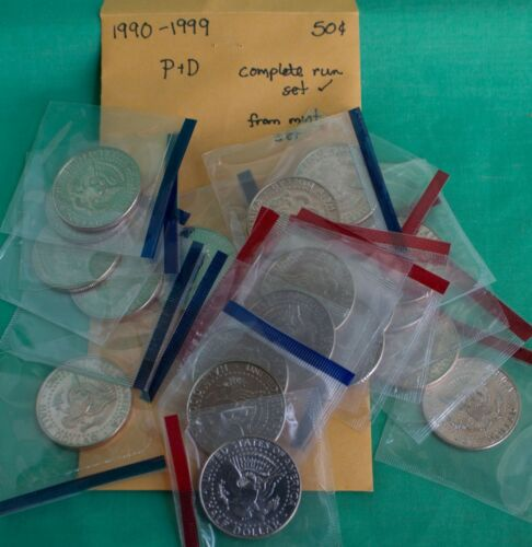 1990-1999 P and D Kennedy Half Dollar 20 BU Coins UNC Mint Set 50c Cello Lot
